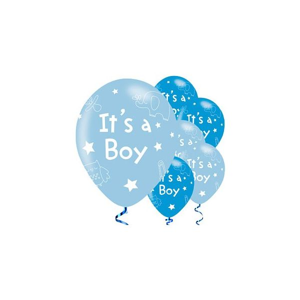 Ballonger - It's a boy! - blå metallic - 6 st