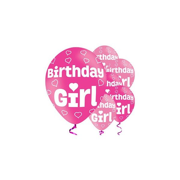 Ballonger - Birthday Girl - rosa metallic - 6 st