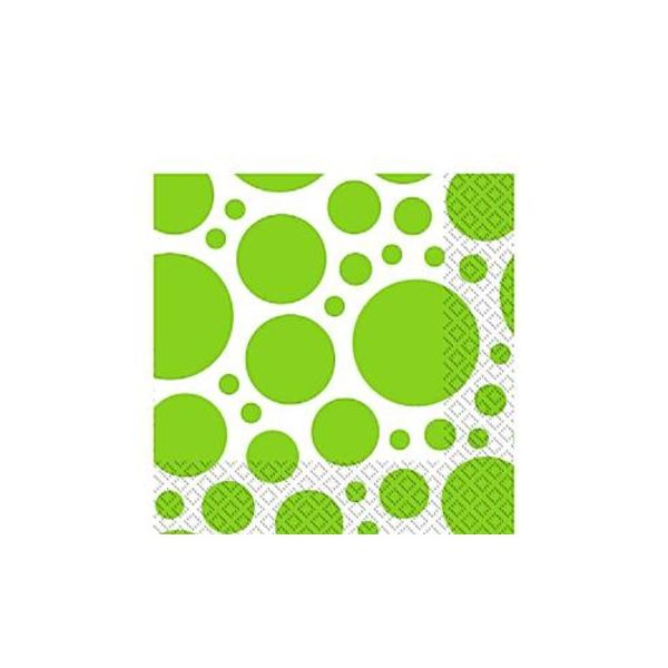 Kalasservetter - dots - lime - 20 st