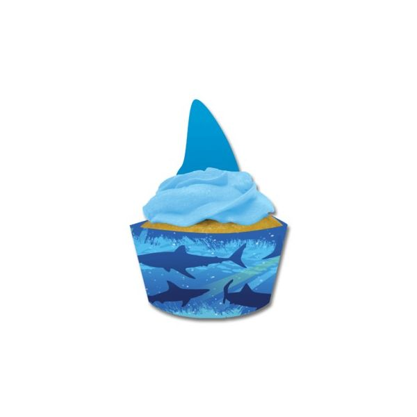 Cupcake wraps till muffinformar - Shark splash - 12 st