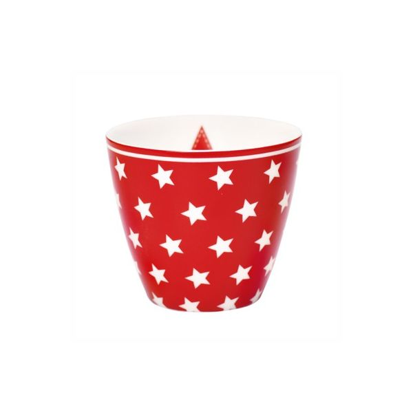 Lattemugg i porslin - Star red - GreenGate