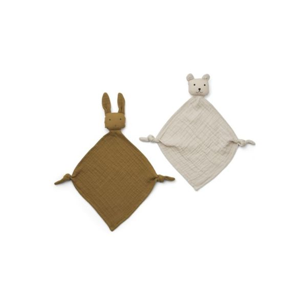 Snuttefilt - Yoko mini cuddle cloth 2-pack - Olive green/sandy mix - ekologisk från Liewood