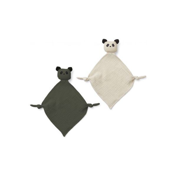 Snuttefilt - Yoko mini cuddle cloth 2-pack - Panda hunter green/sandy mix - ekologisk från Liewood