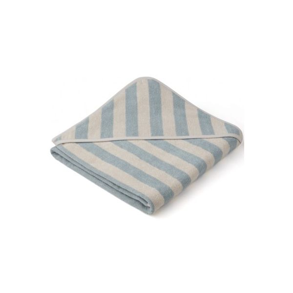 Handduk med luva - Louie hooded towel - Sea blue/sandy - Ekologisk från Liewood