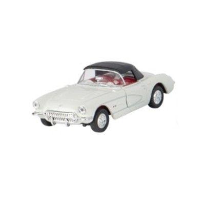 Bil i metall - Chevrolet Corvette - creme med tak (1957)