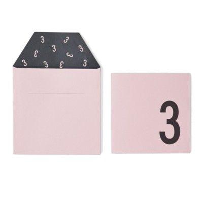 Kort med kuvert - Rosa 3 år - Design Letters