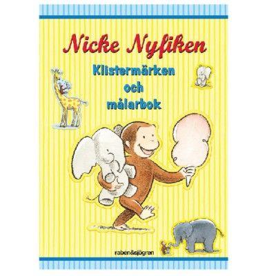 Målarbok med klistermärken, Nicke Nyfiken