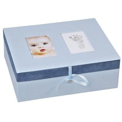 Minnesbox med handavtryck - blå