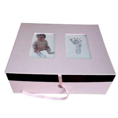 Minnesbox med handavtryck - rosa