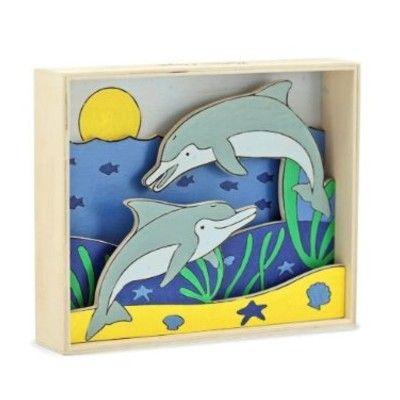 3D-tavla - delfiner - måla efter nummer