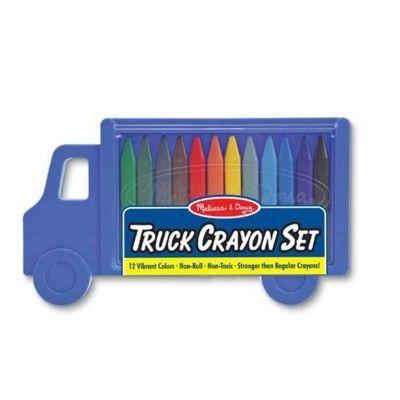Färgkritor, 12 st i lastbilsask - blå