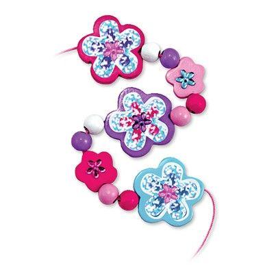 Träpärlor i rosa ask - blommor