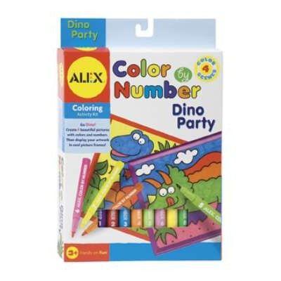 Måla konst efter nummer – filtpennor – dinosaurier