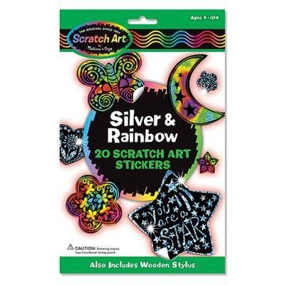 Scratch art - Silver & rainbow klistermärken