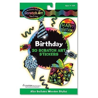 Scratch art - Happy Birthday klistermärken