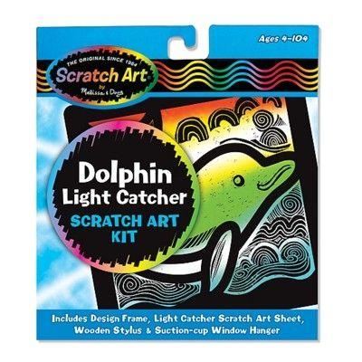 Scratch art - Delfin - fönstertavla