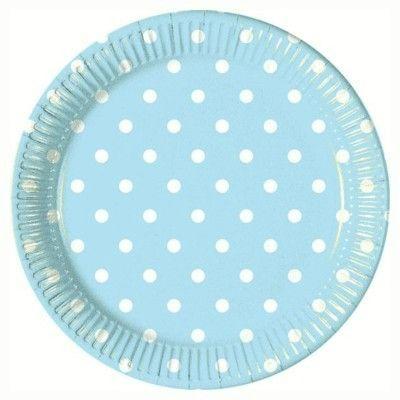 Kalastallrikar - ljusblå med vita prickar - 10 st