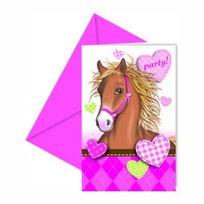 Inbjudningskort - häst - 6 st