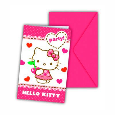 Inbjudningskort - Hello Kitty - 6 st