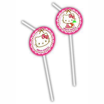 Sugrör med dekorationer - Hello Kitty - 6 st