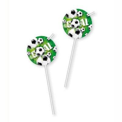 Sugrör med dekorationer - fotboll - 6 st