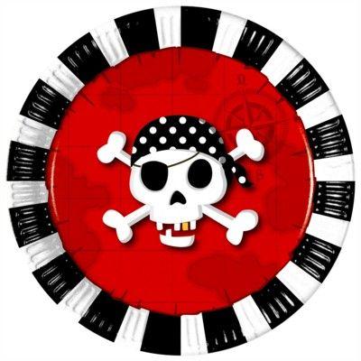 Kalastallrikar - pirat röd/svart - 8 st