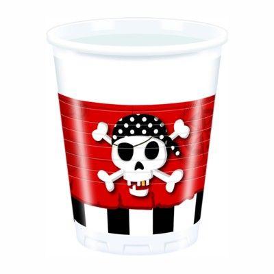 Kalasmuggar - pirat röd/svart - 8 st