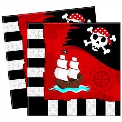 Kalasservetter - pirat röd/svart - 20 st