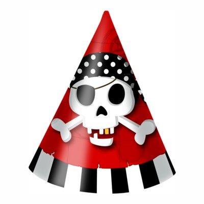 Partyhattar - pirat röd/svart - 6 st