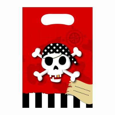 Godispåsar - pirat röd/svart - 6 st