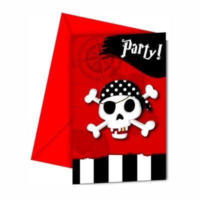 Inbjudningskort - pirat röd/svart - 6 st