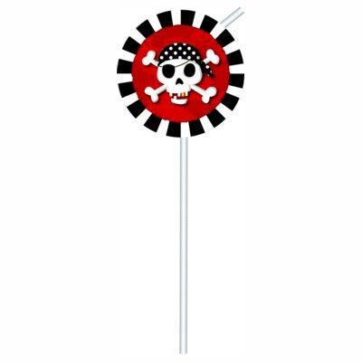 Sugrör med dekorationer - pirat röd/svart - 6 st