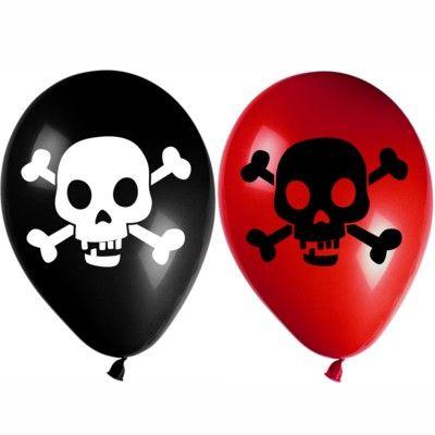 Ballonger - pirat röd/svart - 8 st