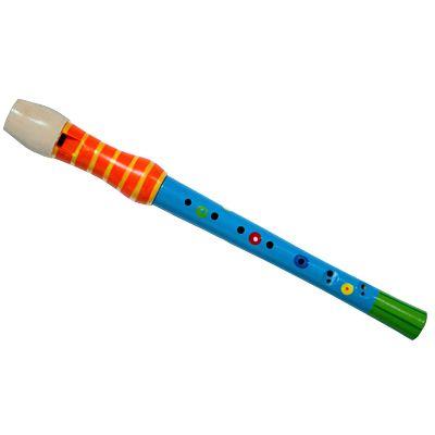 Blockflöjt i trä - orange/blå