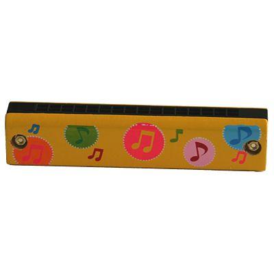 Munspel i trä, gul - musiknot