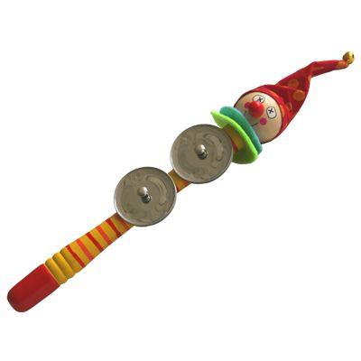 Tamburin som ser ut som en clown, gul