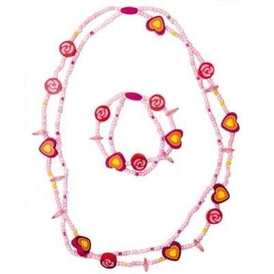 Halsband och armband - set - rosa/cerise
