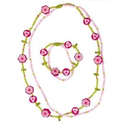 Halsband och armband - set - rosa,grön