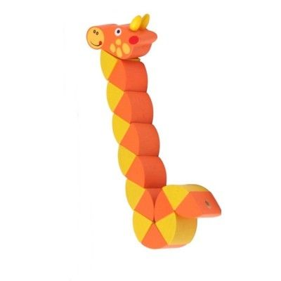 Djur i trä, vridbar - Giraff - orange
