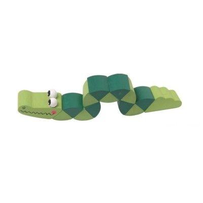 Djur i trä, vridbar - Krokodil - grön