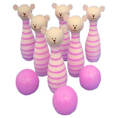 Bowlingset i trä, rosa