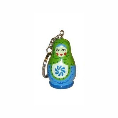 Nyckelring med babushka - turkos/grön