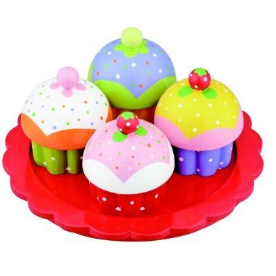 Leksaksmat - Muffins på rött fat