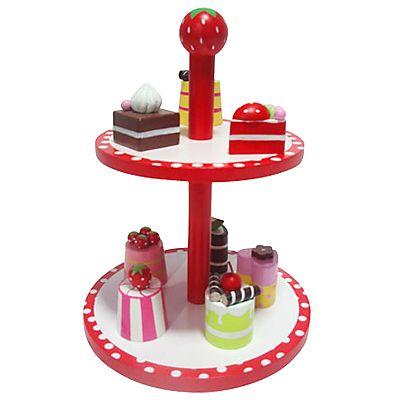 Leksaksmat - Kakfat i trä med kakor - rött och vitt