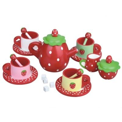 Teservis i trä - röd med jordgubbe - MaMaMeMO
