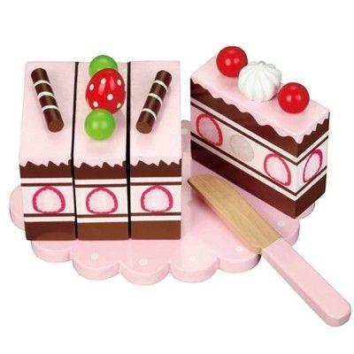 Leksaksmat - tårtlängd i trä - Jordgubbe