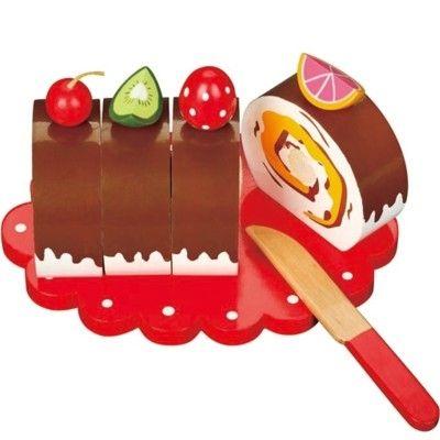 Leksaksmat - Rulltårta i trä med bär och frukter
