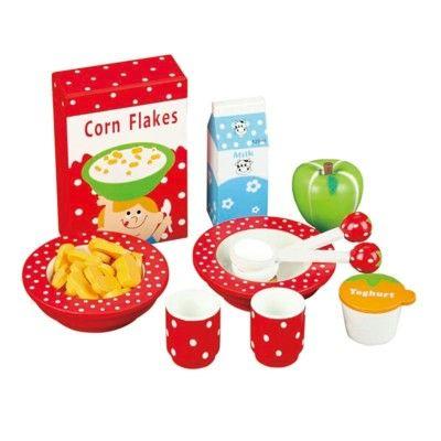 Leksaksmat - Frukostset i trä - jordgubb - MaMaMeMo