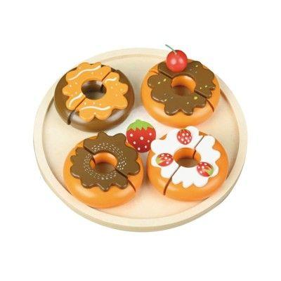 Leksaksmat - Donuts på fat i trä