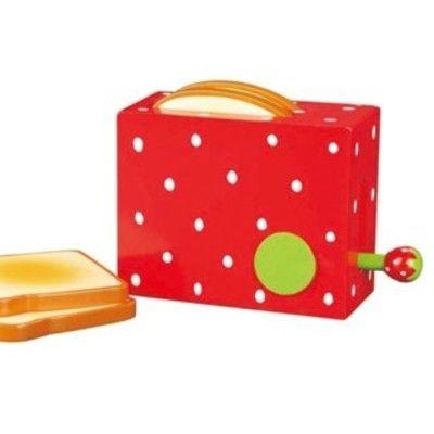 Leksaksmat - Brödrost med brödskivor i trä - jordgubbe